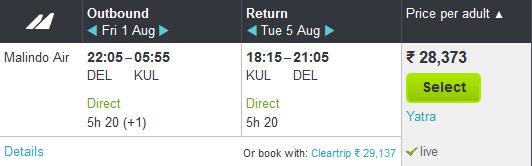 Air Fare from Delhi To Kuala Lumpur