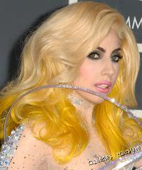 hairscut lady gaga medium bang, hairstyle blonde