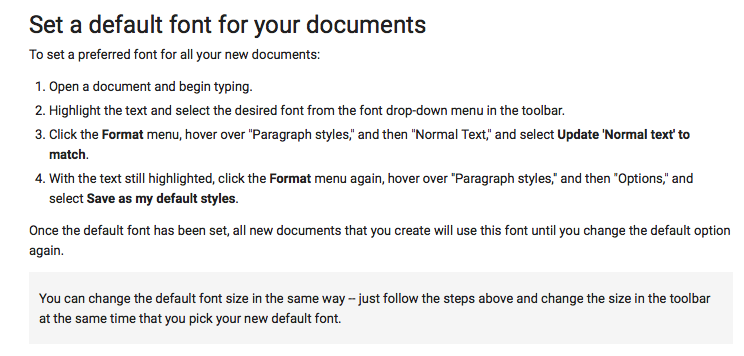 how to set default font in google docs