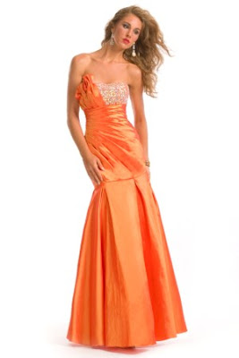 vestido de formatura sereia laranja