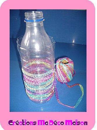 Tisser sur une bouteille en plastique cr ations ma d co maison - Deco bouteille plastique ...