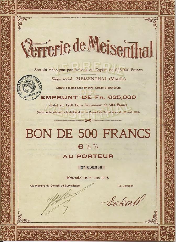 Verrerie de Meisenthal loan certificate