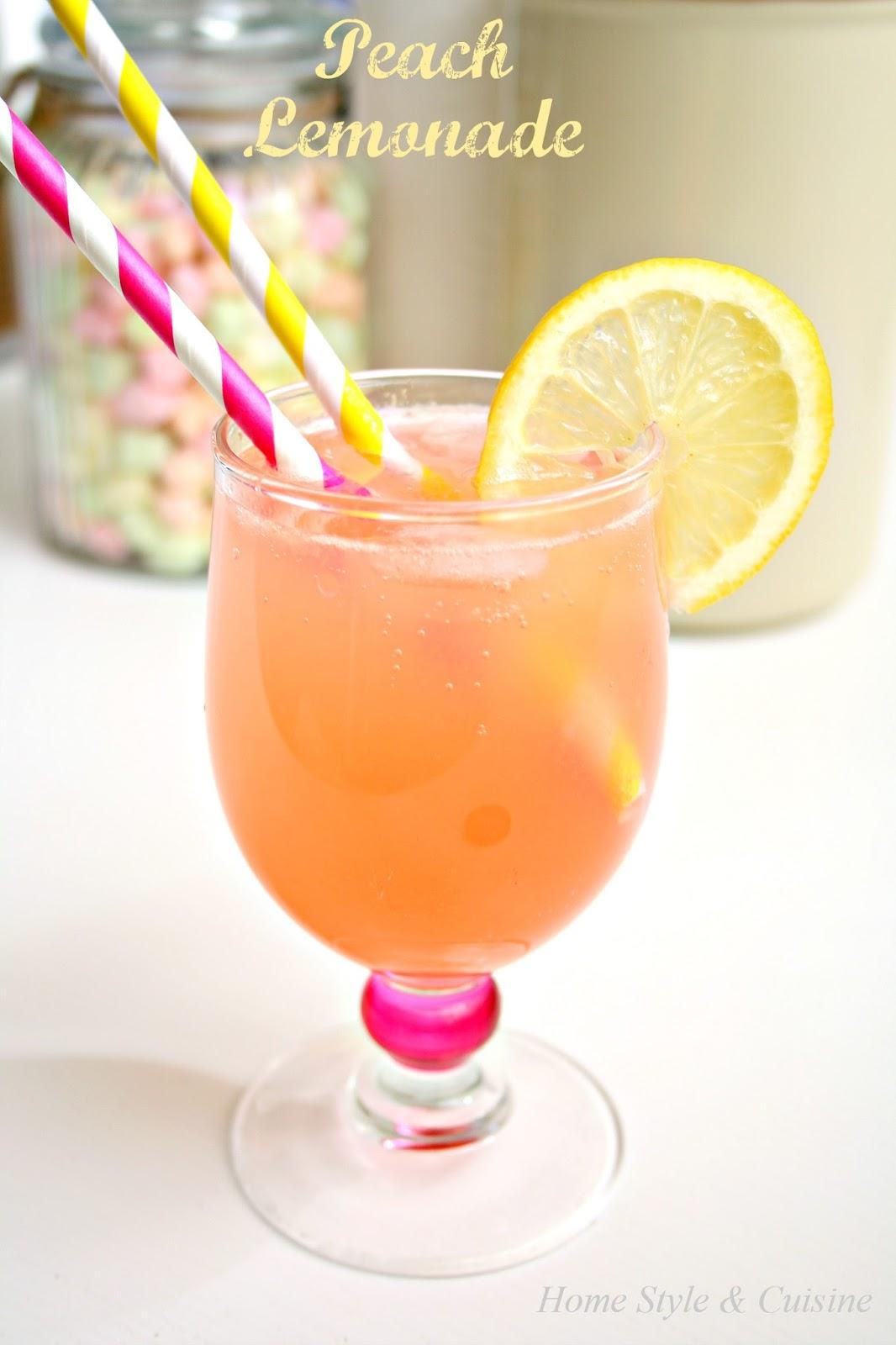 Home Style and Cuisine: Easy Homemade Peach Lemonade