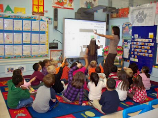 teacher using SmartBoard in class
