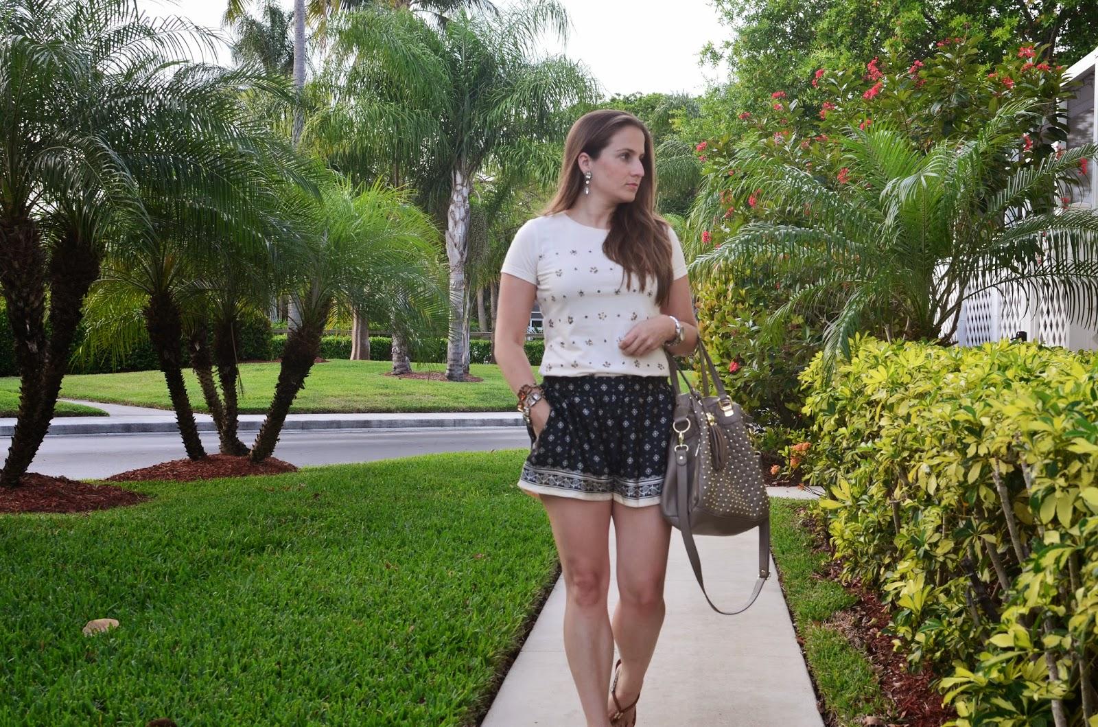 silk shorts - studded tee