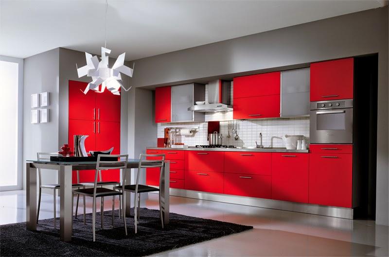 New modern design interior red kitchen interior design - Rajeunir une cuisine ...