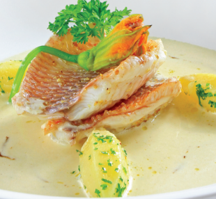 Steamed Red Tilapia with Cream and Cognac Wine