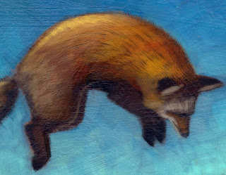 close up, jumping fox, finished in Photoshop