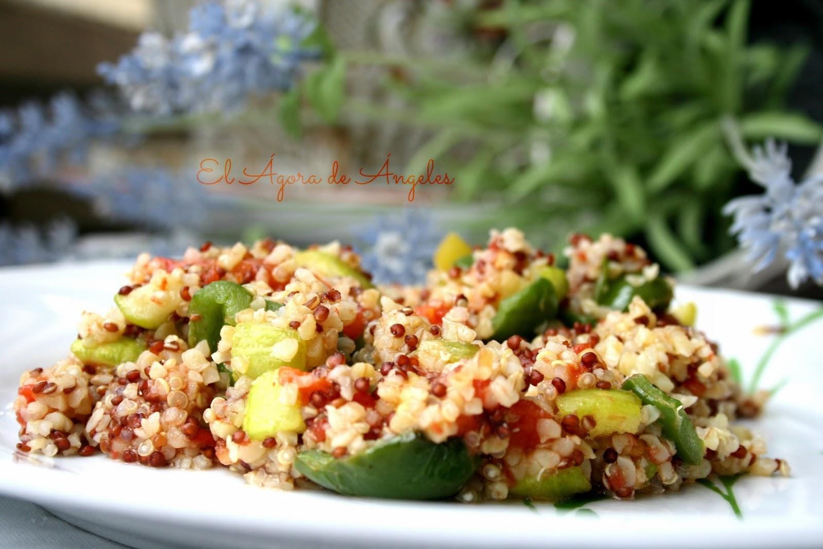 quinoa, trigo bulgur,verduras