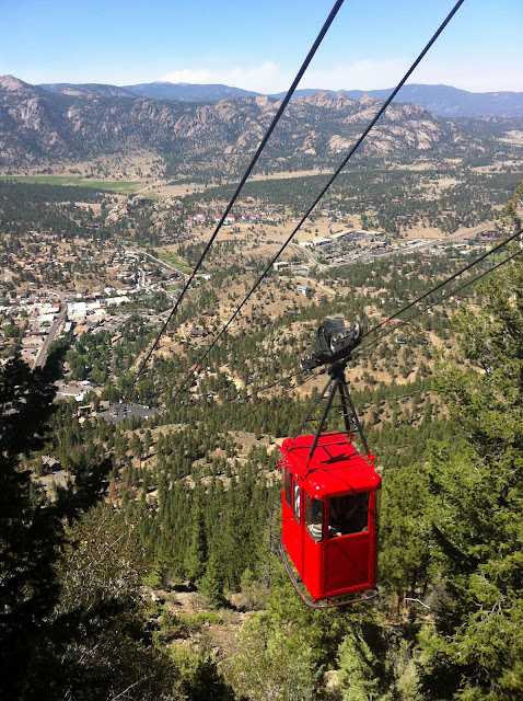 Estes Park Aerial Tramway view of The Stanley Hotel #Colorado #ColorfulColoradowww.thebrighterwriter.blogspot.com