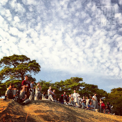 A walking meditation on a cliff near Beopjusa Temple in South Korea.