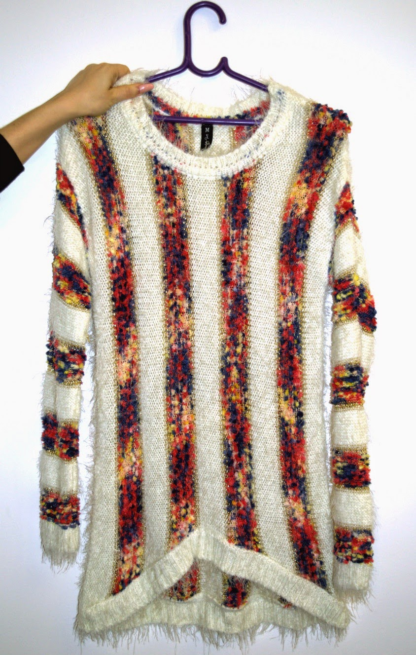 long sweater with colorful stripes
