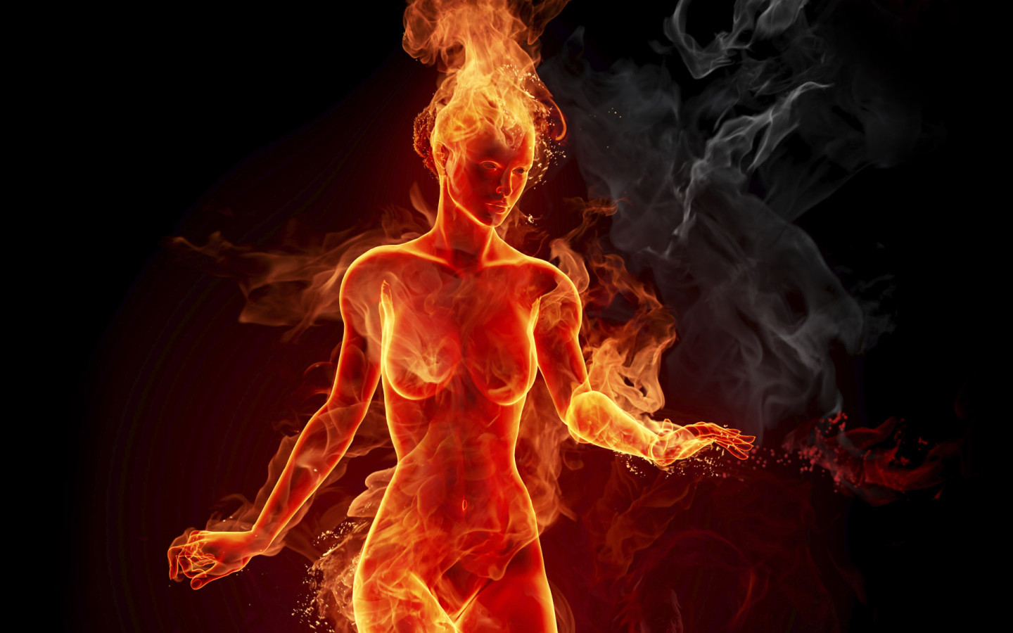 Fire Burning Girl Wallpaper