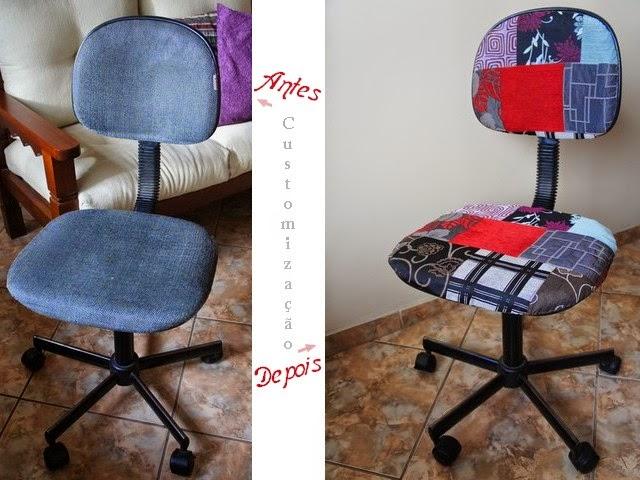 Antes cadeira secretária cinza, agora cadeira estampa patchwork.