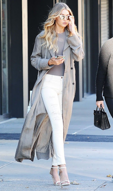 Gigi Hadid in white denim