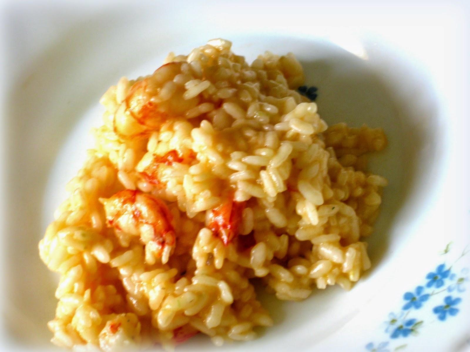 Oggi ricetta di un Risottino di pesce, piatto tipico della cucina italiana: Risotto ai Gamberoni.