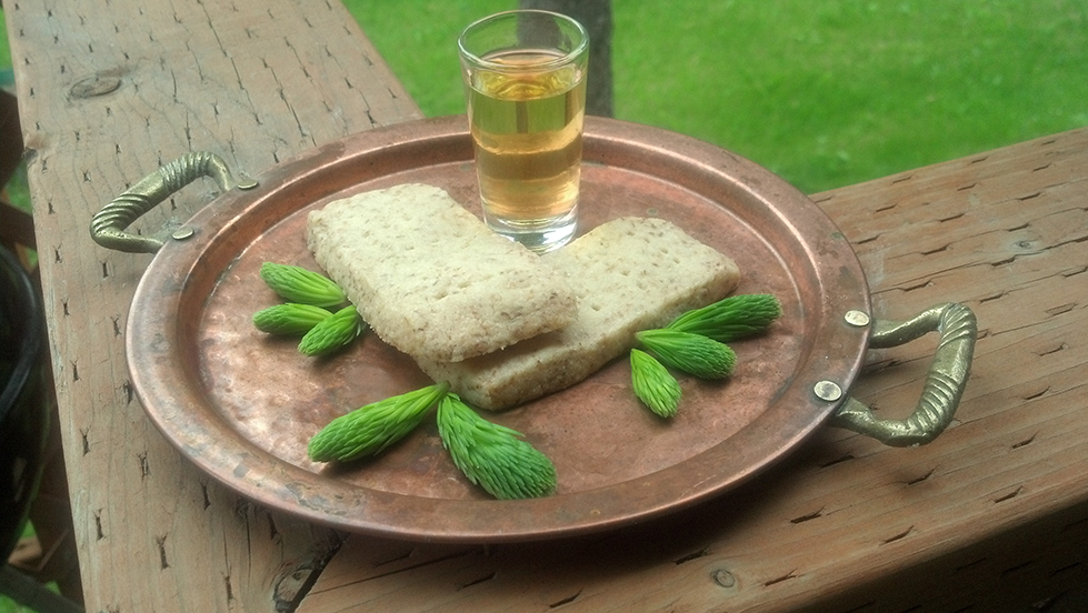 Super Moon offerings, 2013. Spruce tip shortbread & hibiscus maple mead.