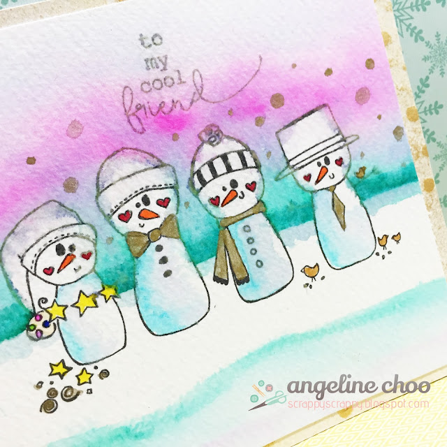 ScrappyScrappy: To my cool friend #scrappyscrappy #unitystampco #christmas #christmascard #snowman #izigcleancolor #kuretake #susanweckesser #goforthegoldclass