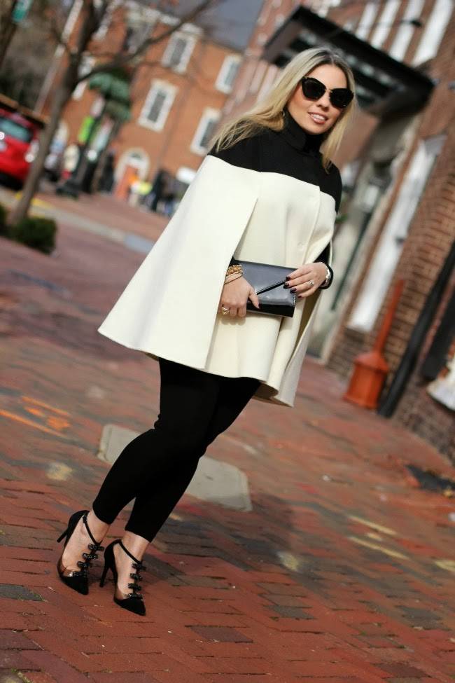 BR Monogram Colorblock Wool Cape - Banana Republic, Black Leggings - Zara, Tuxedo Style Black Shoes - Schutz Brazil, Clutch - Aldo, Black Sunglasses - Miu Miu