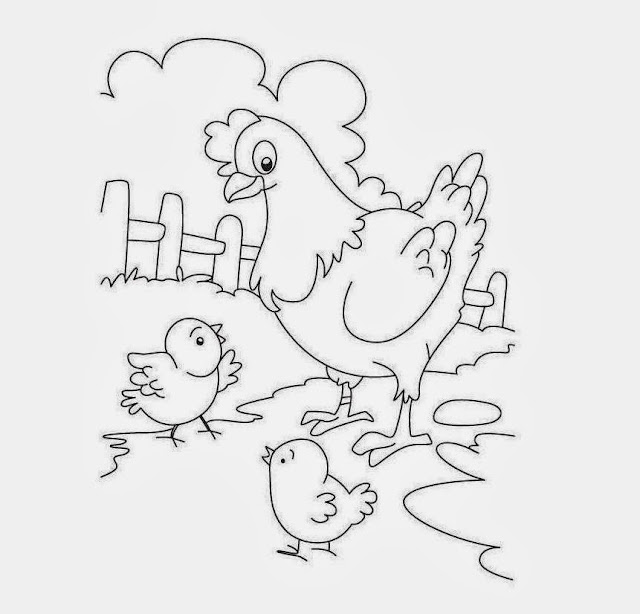 Hen And Chicken Mom Baby Drawing Free wallpaper