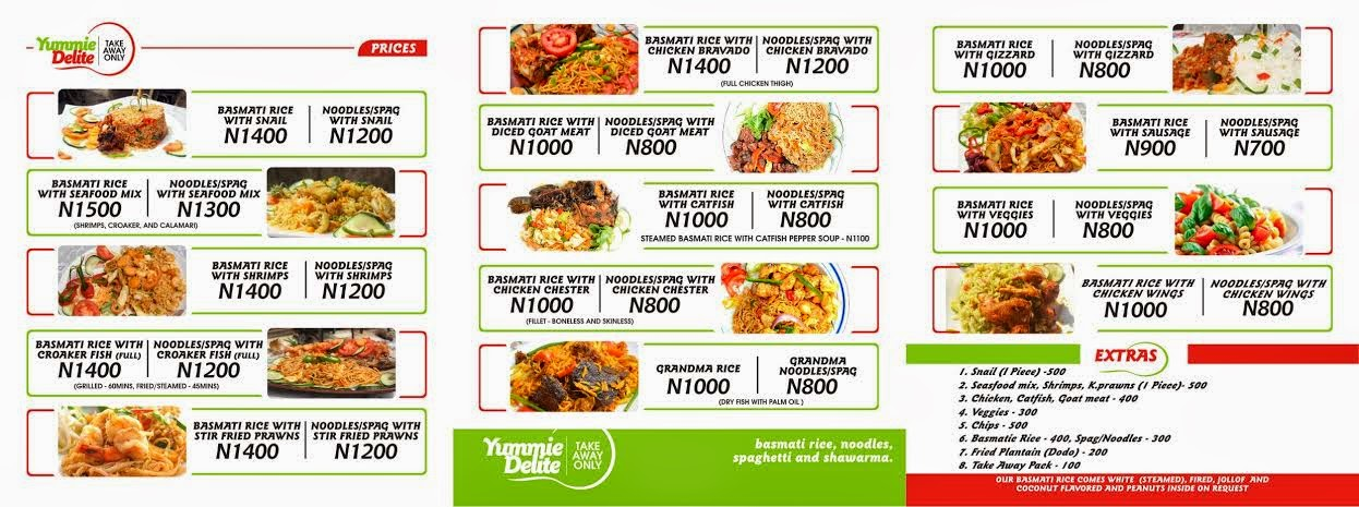 fast meal price list