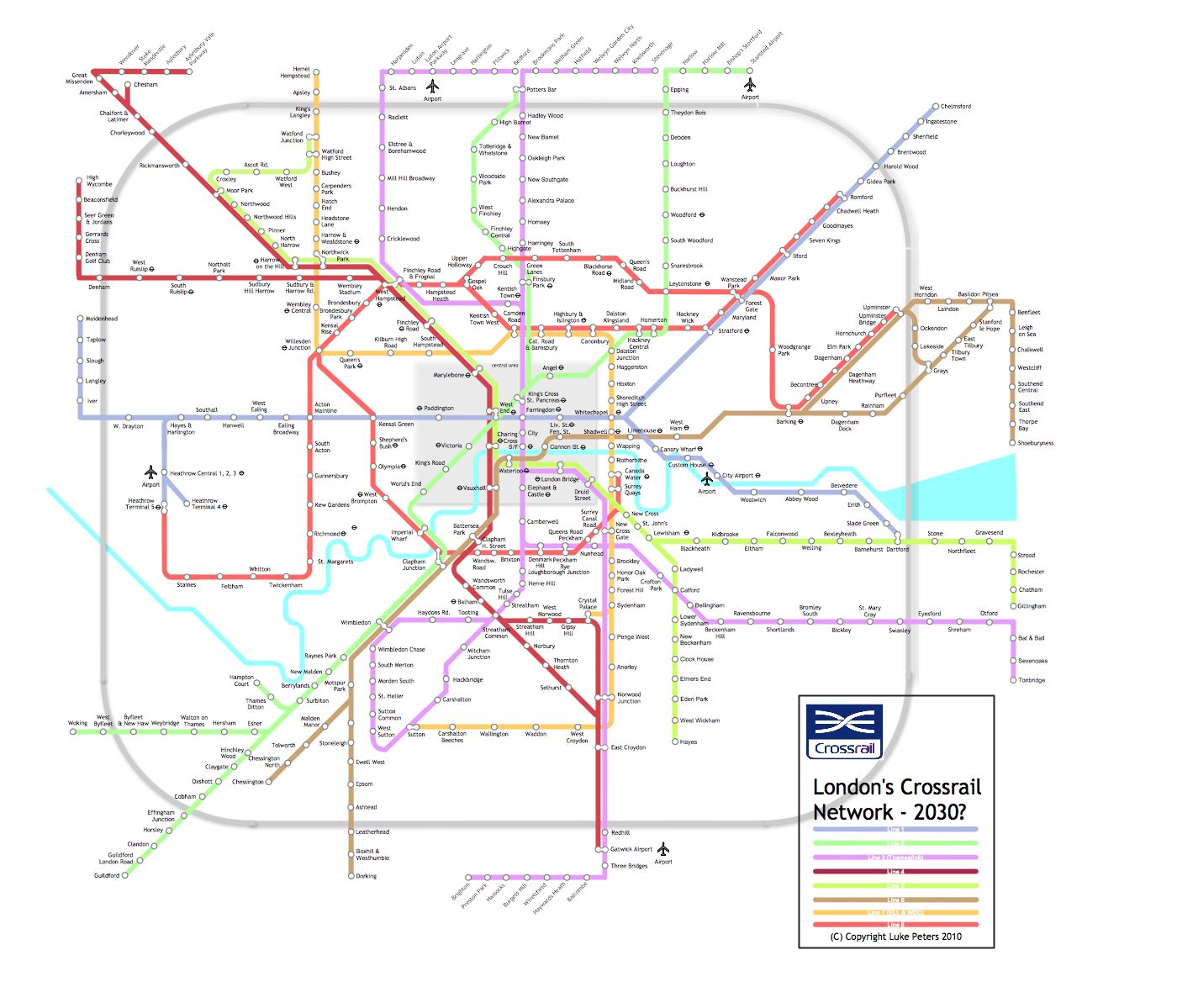 Mindroutes Crossrail Extrapolated New Network Map