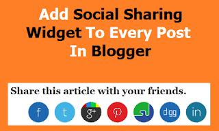 Below Post Social Sharing Widget for Blogger