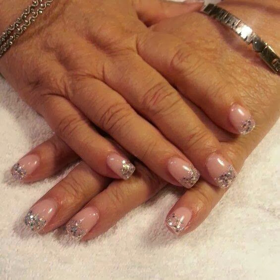 pink body gel with silver hazed glitz LED polish acrylic nail art