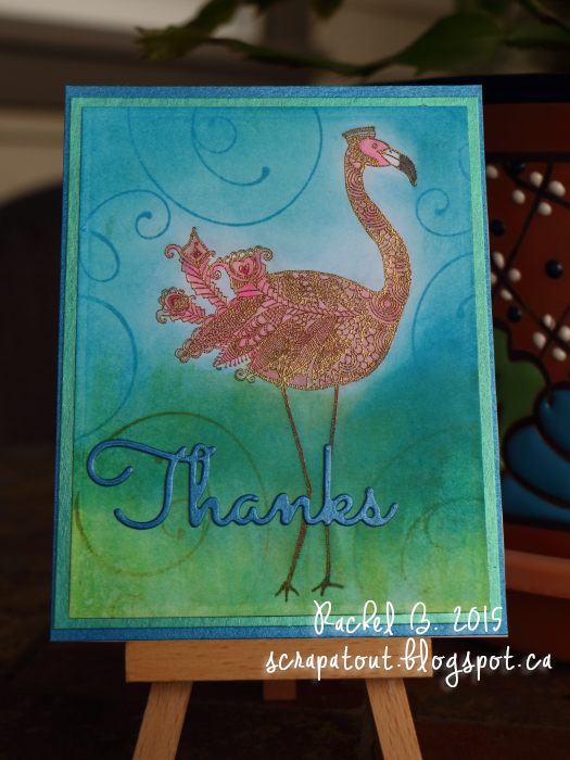 Handmade card, Thanks, Impression Obsession, Flamingo