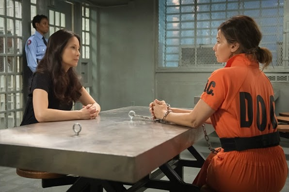 Gina Gershon Allison March Joan Watson Lucy Liu in Elementary Season 3 Episode 14 The Female of the Species
