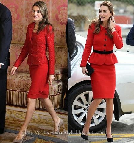 Летисия Ортис и Кейт Мидълтън в червен костюм