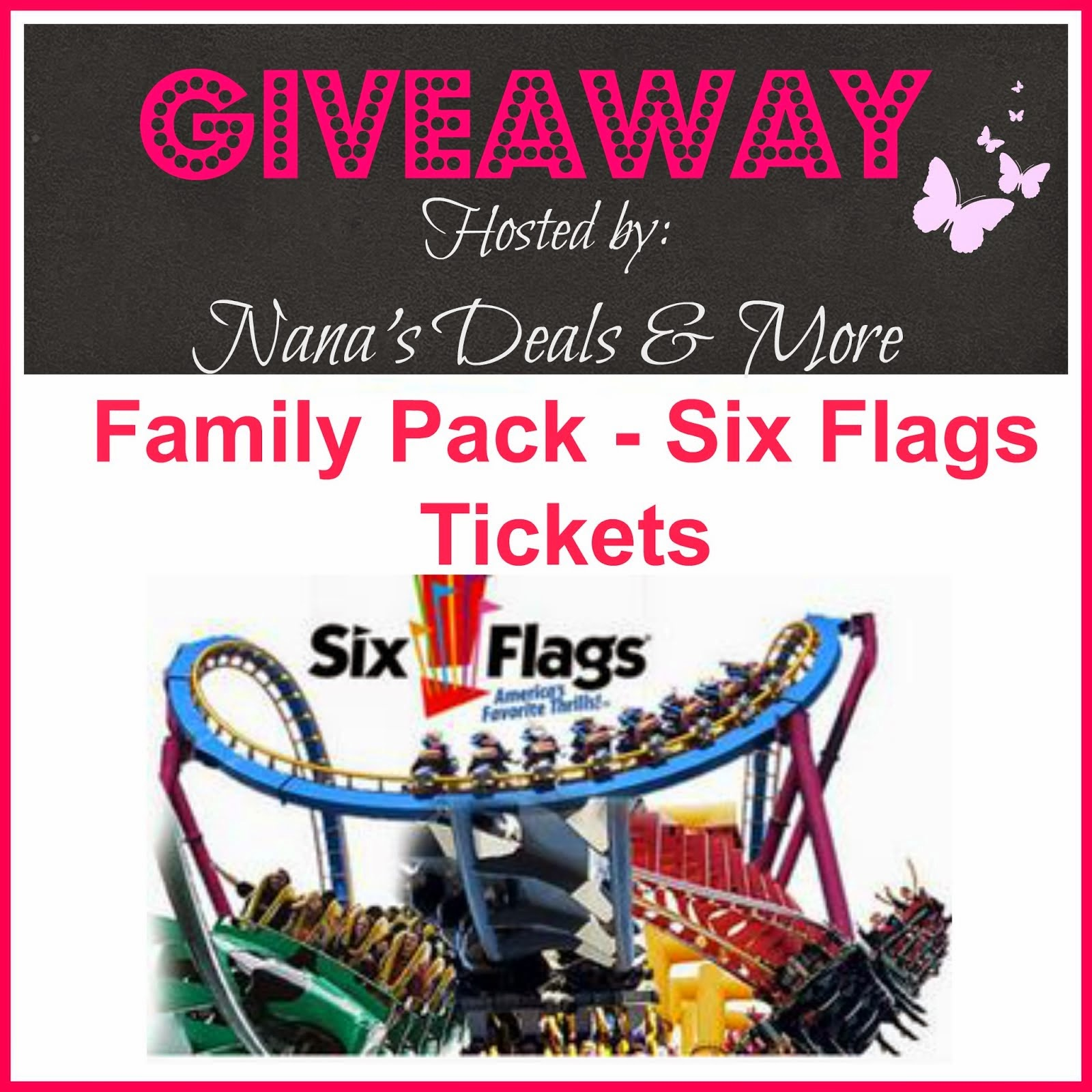 Win (4) Six Flags Tickets- good at any Park for the 2015 Season. Click the Photo to Enter !