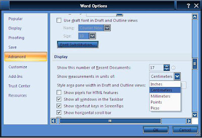 Cara Mengubah Inchi ke centimeter di Microsoft Word 2007