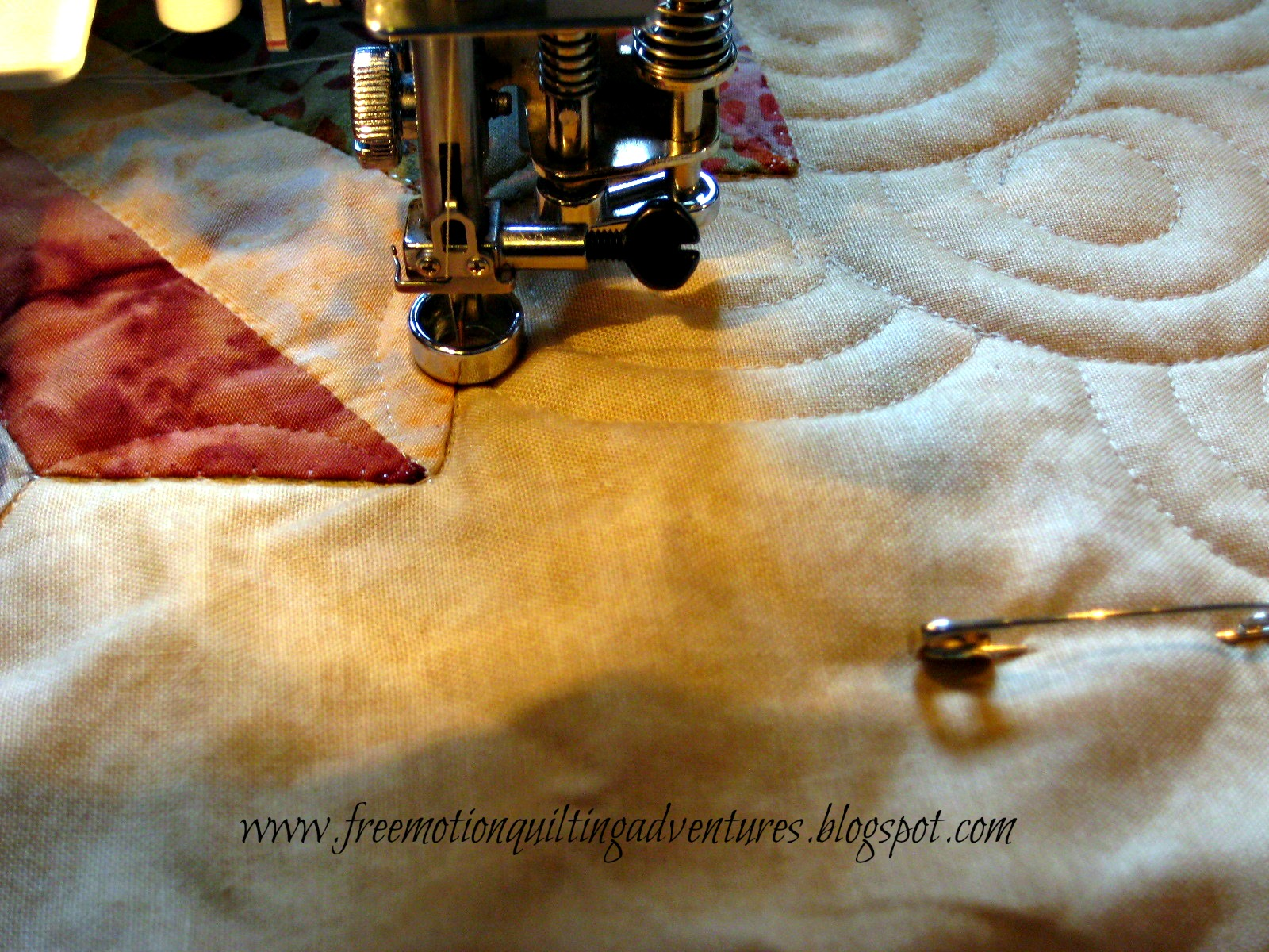 quilting a Dresden in free motion