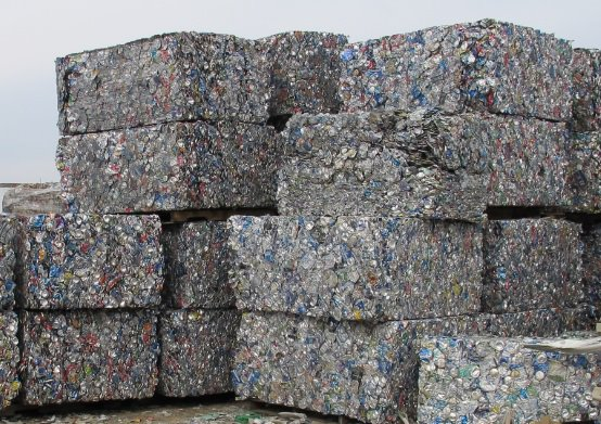 Bales of cans from aluminum scrap metal recycling