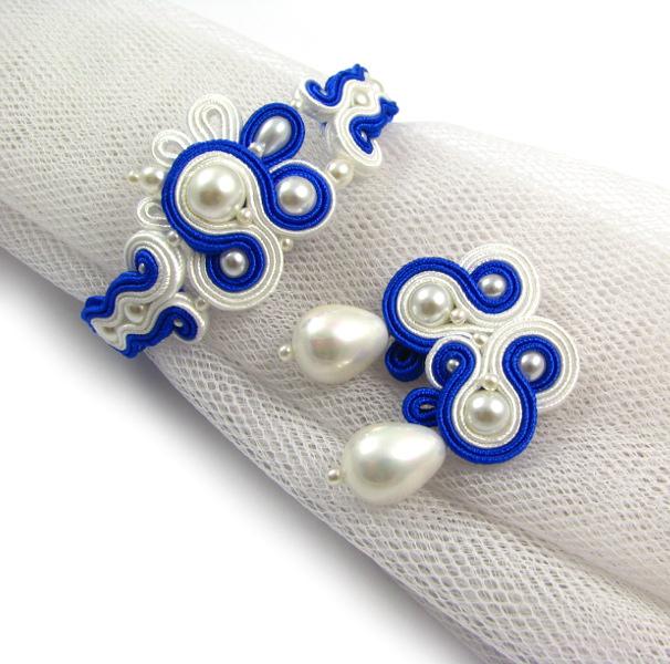 Granatowa biżuteria ślubna sutasz z perłami