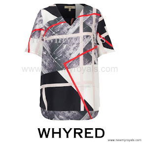 Crown Princess Victoria wore WHYRED Grace Silk Print Top