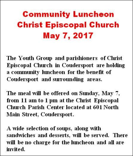 5-7 Community Luncheon Coudersport