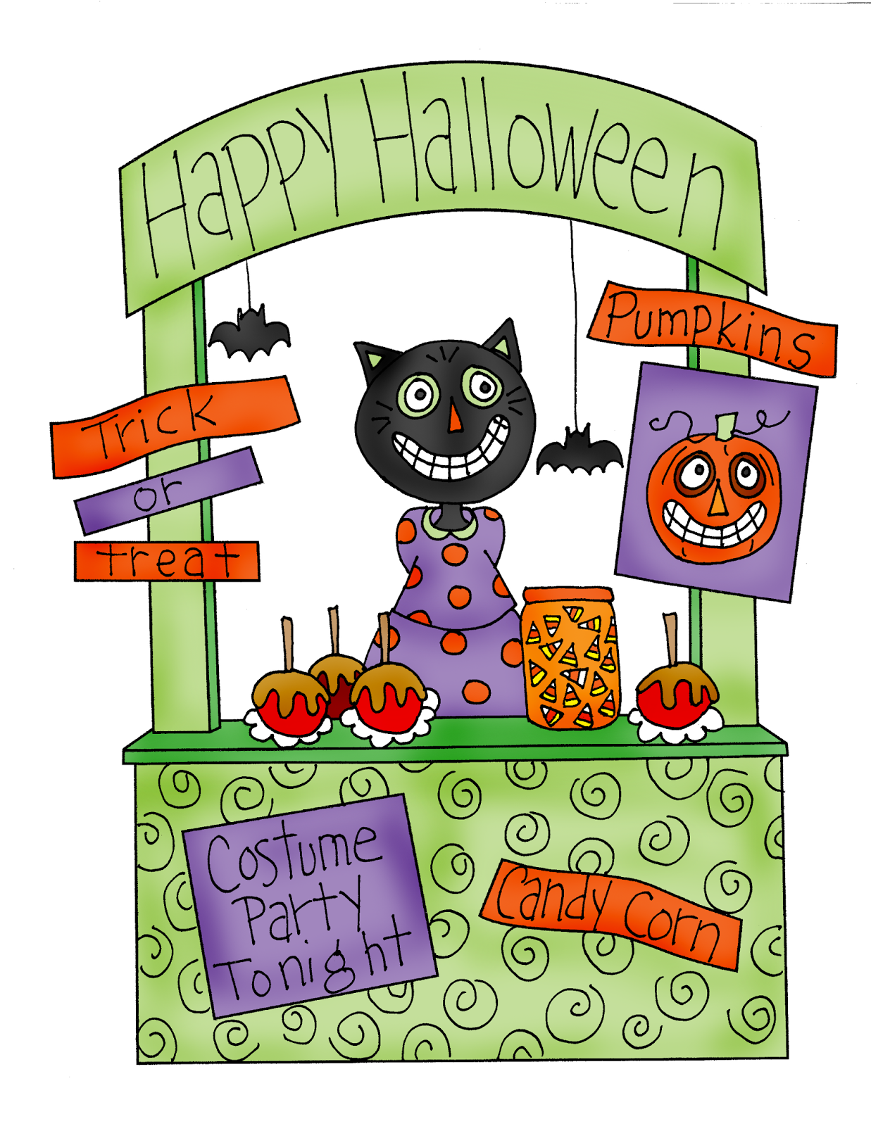 Free Dearie Dolls Digi Stamps: Black Cat Halloween Booth