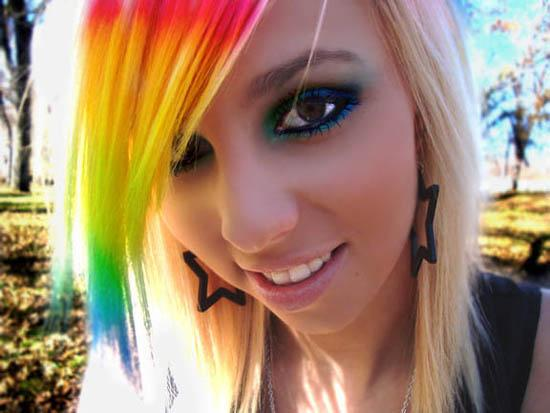 Girls With Rainbow Colored Hair | EMO LAZY