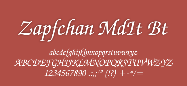 Kumpulan Font Undangan - Zapfchan MdIt BT Font