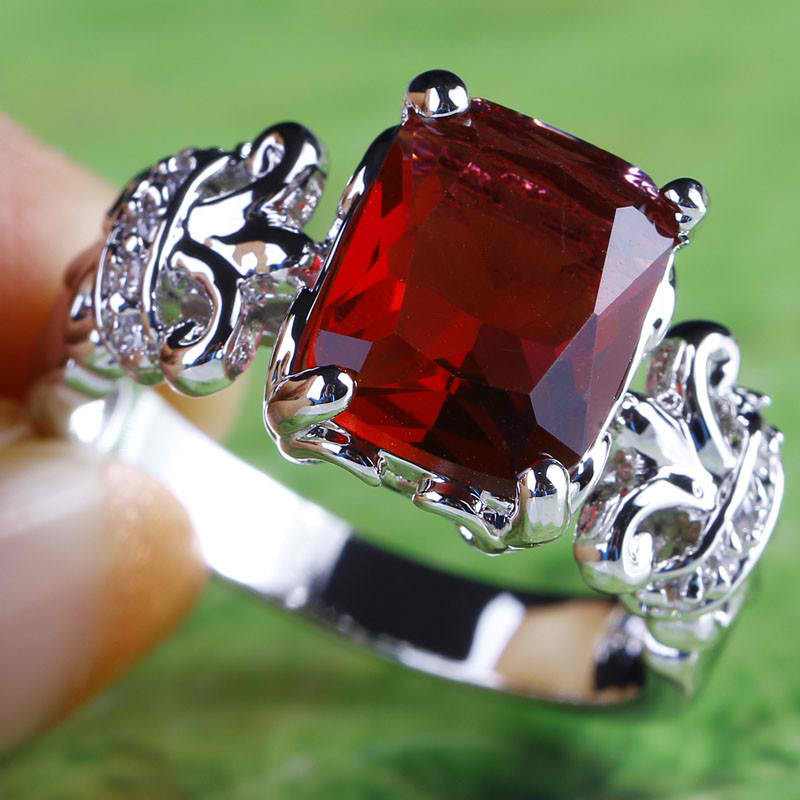 Women Emerald Cut Ruby Spinel & White Sapphire Silver Ring