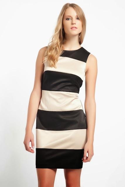 koton kontrast renk çizgili elbise, koton 2014 elbise modelleri