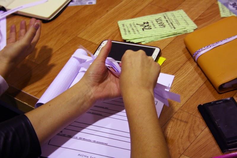 Eligiendo con papeles tema y forma de redactar
