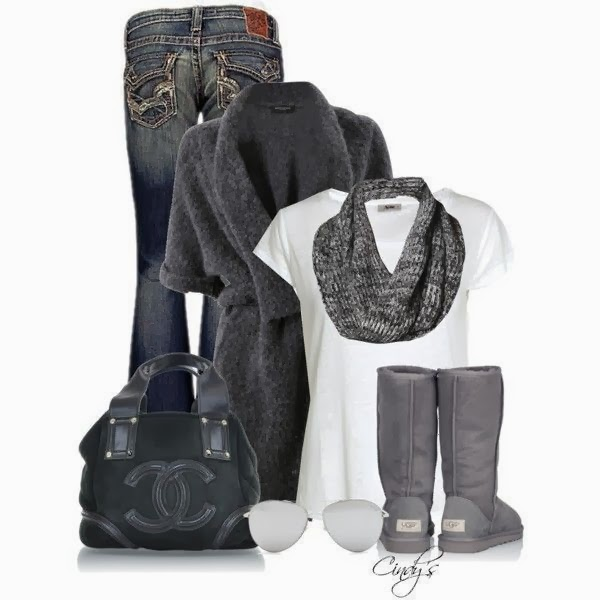 Grey Cardigan, white blouse, grey scarf, jeans and handbag for fall