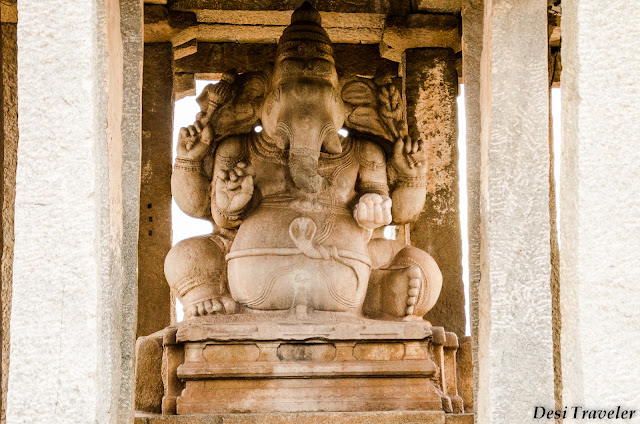 huge Ganesha idol found in the ruins of Hampi temple