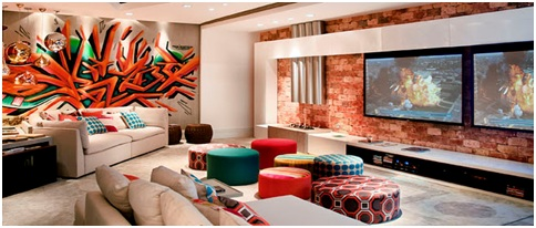 Graffiti living room. Graffiti decoration