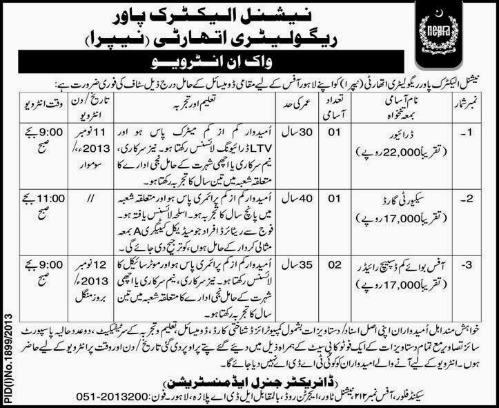 Staff Required In National Electric Power Regulatory Authority, Lahore