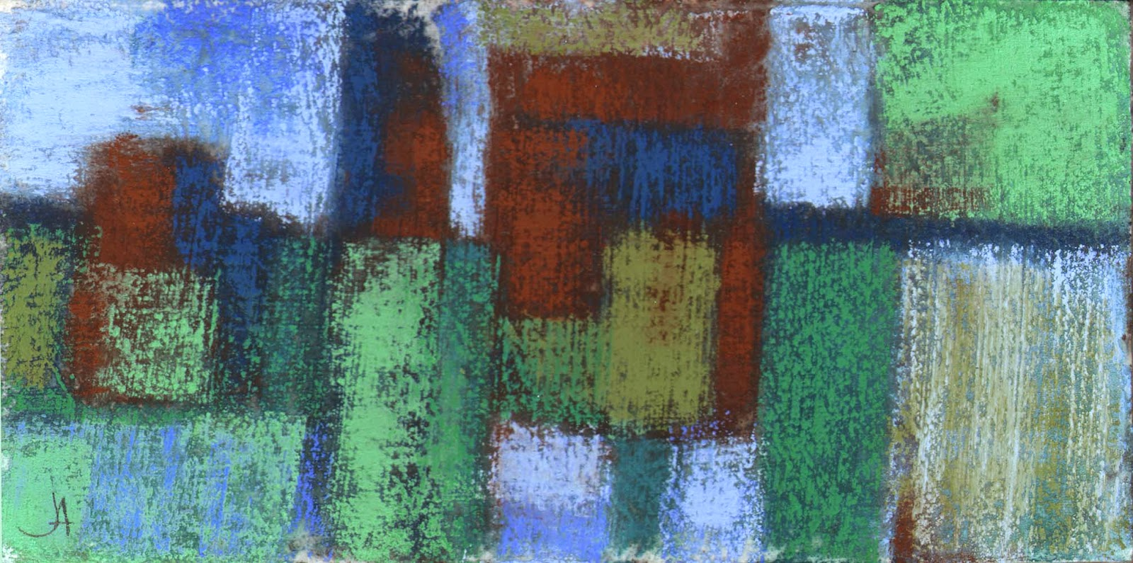 storefronts original abstract urban landscape pastel drawing painting janine aykens