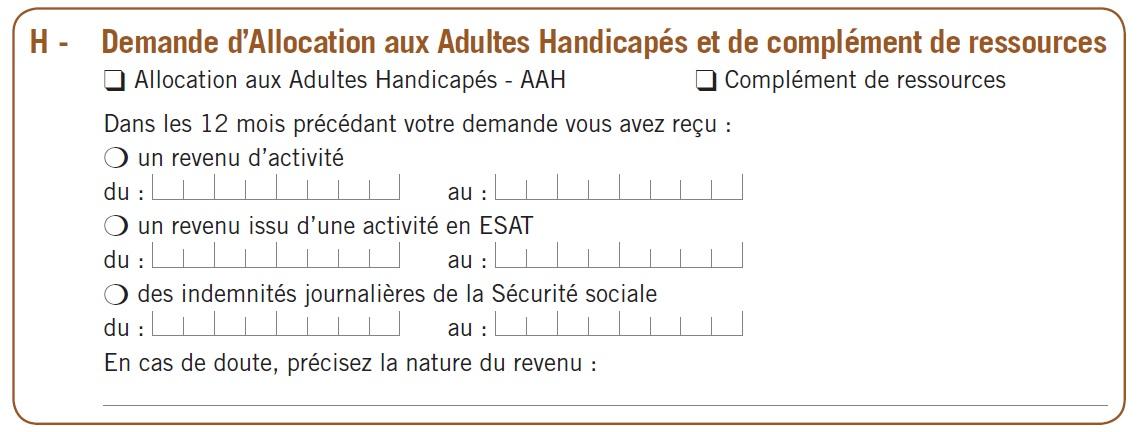 La partie H : demande d'Allocation aux Adultes Handicapés et de ...